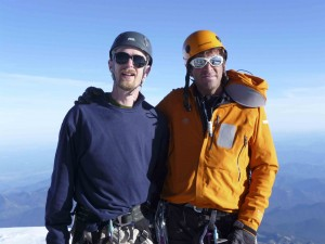 Dave Hahn and I at the summit of Mount Rainier